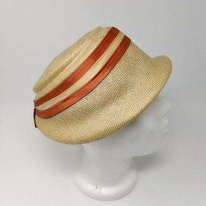 Vintage Natural Straw  Short Brim Cloche Hat